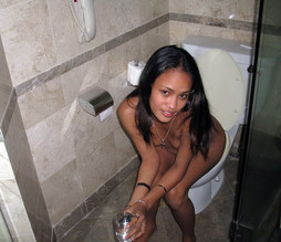 Cute asian girlfriend caught naked on..