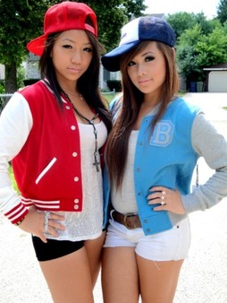 Fancy chinese girlfriends posing on..