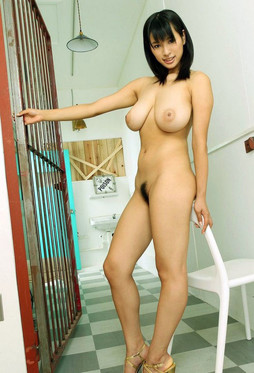 Busty asian girlfriend walking nude in..